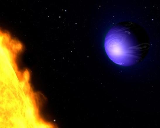 Plavi planet na kojem pada kiša od rastopljenog stakla